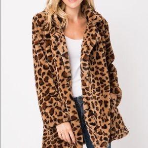 Love Tree Faux Fur Leopard Jacket